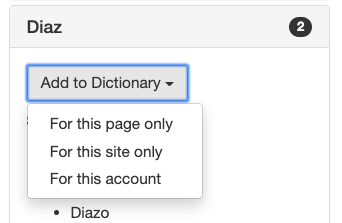Add to Dictionary dropdown