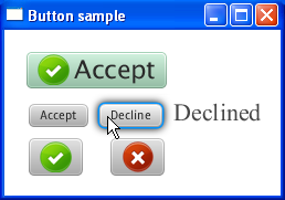A boxed outlined in blue with the words Button Sample in white at the top. Inside the box, there are several buttons: 1) is a large green button with an icon of a checkmark and the word Accept 2) is a gray button with the word Accept written on it in black with a button below that is a gray button with an icon of a green circle with a white checkmark 3) a gray button with the word Decline written on it in black with a button below it that is a gray button with an icon of a red circle with a white X.