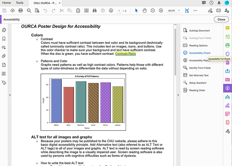 A PDF opened in Adobe Acrobat with the Accessibility Tools menu expanded and Accessibility Check highlighted.