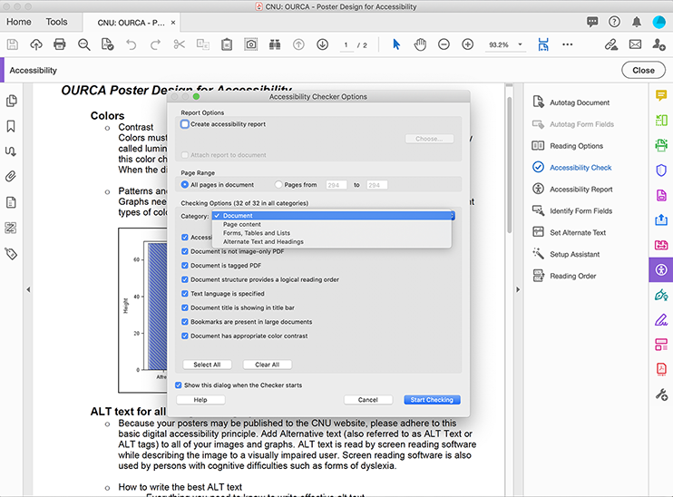 Clicking Accessibility Check opens the Accessibility Option dialog box, pop up overtop of PDF document.